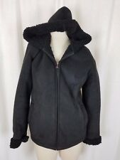 Esprit Black Faux Shearling Fur Faux Suede Hooded Full Zip Up Jacket Peacoat M