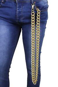 Men Women Gold Chunky Metal Links Extra Very Long Wallet Chain Key Clip Biker