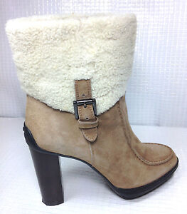 Tod's Sheepskin Ankle Boots Chestnut Brown Size Eur.39 USA. 8.5