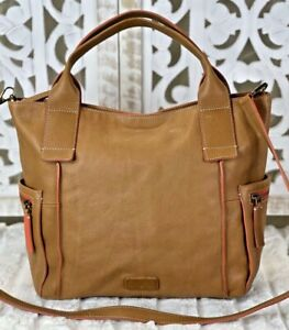 FOSSIL EMERSON Large CAMEL Leather Satchel Tote Purse Crossbody Messenger Bag