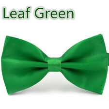 Adjustable Satin Men Tuxedo Classic Novelty Wedding Bow Tie Necktie Leaf Green