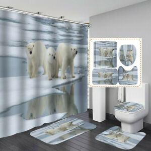 Cute Polar Bear Family Shower Curtain Bath Mat Toilet Cover Rug Bathroom Decor