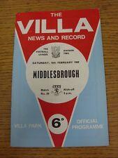 10/02/1968 Aston Villa V MIDDLESBROUGH (leggera piega). questo oggetto è stato Inspe