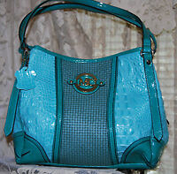 MADI CLAIRE CALLIE CROCO EMB LEATHER & WOVEN DESIGN CONVERTIBLE HANDBAG AQUA
