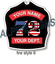 "Fire Helmet Shield sticker - Style 6 - Custom just for You! 3.7""x4"""