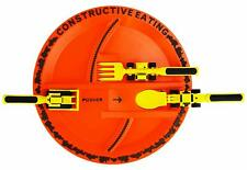 Constructive Eating Construction Plate with 3 piece Construction Utensil Set New
