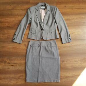 M&S Womens Grey Skirt Suit Workwear Size 8 Petite