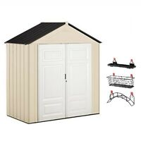 Rubbermaid 7' x 3' Double Wall Plastic Outdoor Storage Shed and Accessories