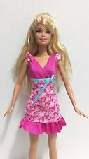 Mattel Barbie Doll Blonde in Pink and White Flowered Sundress and Pink Shoes
