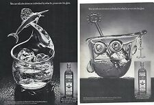 Bushmills Scotch Whiskey Lot of 2 Magazine Ads Fisherman Yachtsman Glass