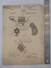 Colt Firearms Revolver Improvement Patent by William Mason 1881 Free Shipping
