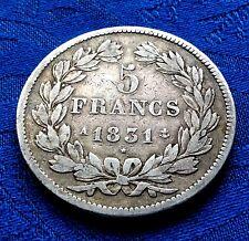 MONNAIE 5F ARGENT  ECU LOUIS PHILIPPE Ier ROI DES FRANçAIS 1831 A PARIS