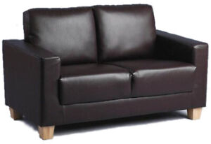 Faux Leather Sofa In A Box 2 Seater Brown Padded Cushions Couch Living Room