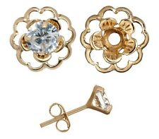 Earring Set Crystal Cubic Posts Gold over Silver Flower Earring Jacket