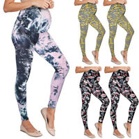 Women Maternity Leggings Seamless Print Pants Stretch Pregnancy Trousers Clothes
