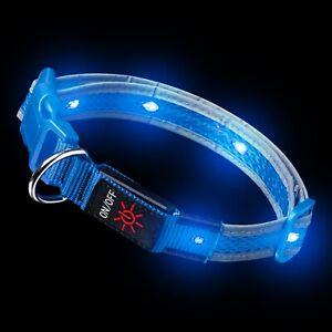 Blue LED Dog Collar Light Up Luminous USB Rechargeable Flashing Night Safety UK
