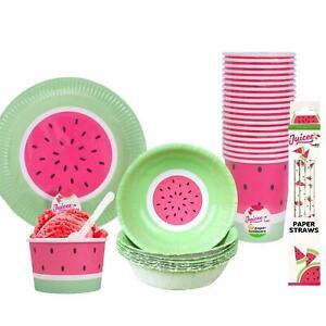 Garden Tableware Watermelon Paper Plates Cups Straws Bowls BBQ Summer Party Set