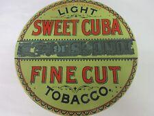 VINTAGE TOBACCO TIN PIE PAN STYLE LIGHT SWEET CUBA RARE  ADVERTISING  227-