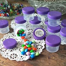 28 Plastic Small Jars Container Shreds 2 Tblsp Herbs Purple Caps #4304 DecoJars