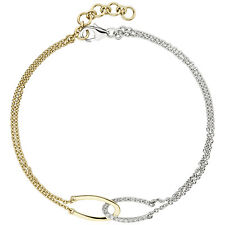 Damen Armband 2-reihig 585 Gold Gelbgold Weißgold bicolor 18 Diamanten 19,5 cm