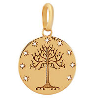 14k Pure Solid Yellow Gold Tree of Life Stars Round Delicate Small Charm Pendant