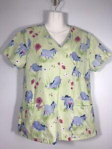 Disney Nursing Scrub Top Winnie The Pooh Eeyore Women's S