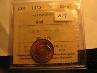 Canada 1939 Small Cent Penny MS 64 Red ICCS Certified ID#A19.