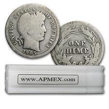 90% Silver Barber Dimes 50-Coin Roll Avg Circ - SKU #5125