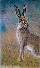 Hare art print from original painting with beadwork on linen by Suzanne Le Good