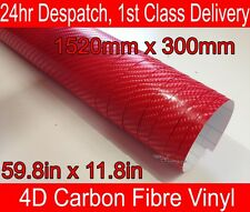 4D Carbon Fibre Vinyl Wrap Film Sheet RED 300mm(11.8in) x 1520mm(59.8in)