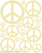 38 PALE YELLOW PEACE SIGN VINYL BEDROOM DECALSTICKER BABY KIDS DORM ROOM GIRLS