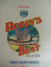 Vtg 40's ROBIN'S BEST Flour Bag Sack ROBINSON MILLING Kansas Ephemera Paper NOS