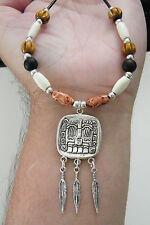 """AZTERC GOD NECKLACE Azrtec Tibet Silver Feathers BONE & WOOD Beads 23""""-25"""" NEW"""