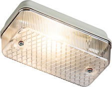 Knightsbridge IP65 100W BC Bulkhead Light B22 With Clear Prismatic Diffuser
