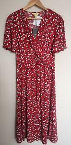 Jolie Moi Twist Front Midi Dress, Size 10, Red Animal, BNWT