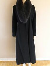 Marvin Richards Women's Winter blue fox fur Cashmere Wool long coat size 8