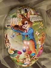 Vintage Nestler Xl 15� paper mache egg with rabbits made in Germany