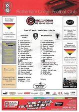Teamsheet - Rotherham United v AFC Wimbledon 2012/13