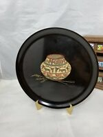 Couroc tray black 10.5 inches round Primitive Jar mid century serving platter CA