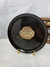 Couroc tray black 10.5 inches round Primitive Jar mid century serving platter Ca