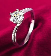Solitaire Princess Lab-Created Excellent Fine Diamond Rings