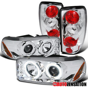 For 2000-2006 GMC Yukon Denali Clear LED Halo Projector Headlights+Tail Lamps