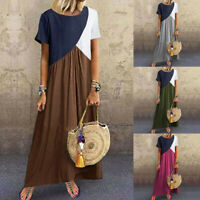 Women Summer Casual Patchwork Dress Short Sleeve Round Neck Loose Long Dresses