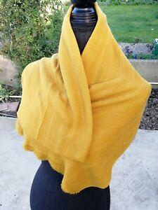 Cashmere Pashmina Scarf Handwoven Nepal wrap Shawl Knit Woven scarf mustard