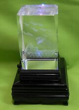 MILITARY TANK WITH MISSILES FLYING  LASER ETCHED GLASS FIGURINE W/LIGHT BOX