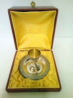Egg Cup Silver Plate Metal White Carved Art Deco Boxset Christening