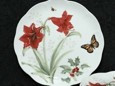 2 (Two) LENOX Butterfly Meadow Holliday AMARYLIS Porcelain Dinner Plates