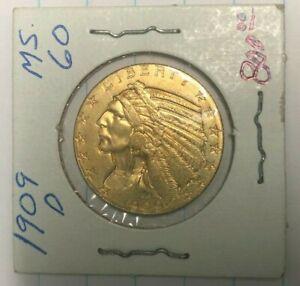 1909 D GOLD UNITED STATES $5 DOLLAR INDIAN HEAD HALF EAGLE COIN DENVER MINT