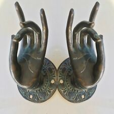 2 BUDDHA Pull handle hand brass age green patina door old style knob hook 7cm B