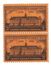 US 3c Nassau Hall Princeton University Stamp, Pair Block of 2, MNH